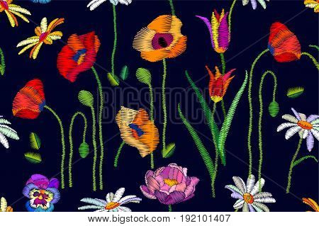 Seamless vector pattern with chamomiles, red and yellow poppies. Botanical print with embroidered texture. Vintage motifs. Retro textile collection.