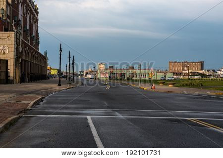 Asbury Park NJ -- June 14 2017 Ocean Avenue outside of Asbury Park's Convention Hall is quite early on a rainy summer morning. Editorial Use Only.