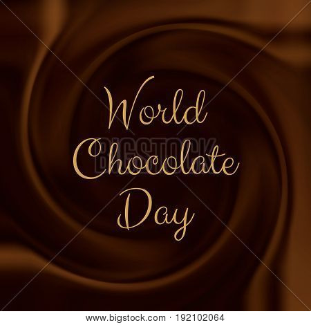World Chocolate day background with melted chocolate swirl