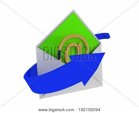 email concept with arrow  . 3d rendered illustration