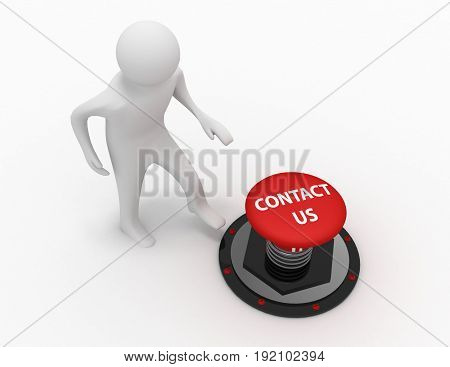 3d man push button contact us . 3d rendered illustration