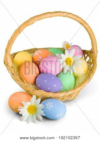 Color colorful basket easter filled eggs green