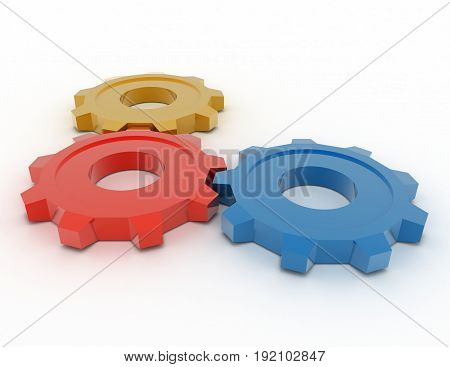 3d gears concept . 3d rendered illustration