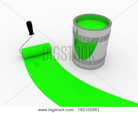 green paint concept . 3d rendered illustration