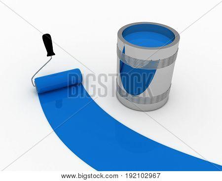blue paint conceptv . 3d rendered illustration