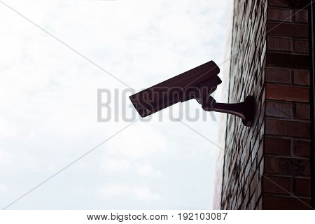Security Camera Mounted On The Building Wall