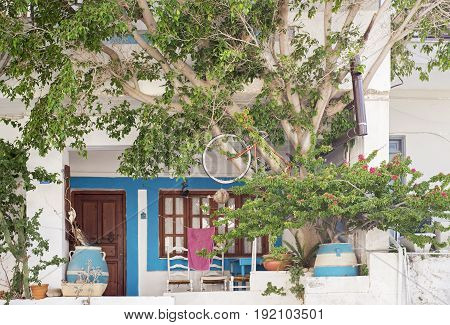 house facade with flowerpots, chairs and tree, summer in Elounda, Crete, Greece