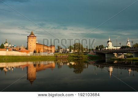 Beautiful General View Of Sights: Assumption Brusensky Female Monastery Marinkin Tower Of Kremlin And Church Of Michael Archangel By River Kolomenka At Sunset In Kolomna Moscow Region.