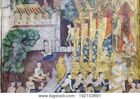 Bangkok, Thailand - December 7, 2015: Ancient Buddhist temple mural painting of the life of Buddha inside of Wat Pho in Bangkok, Thailand