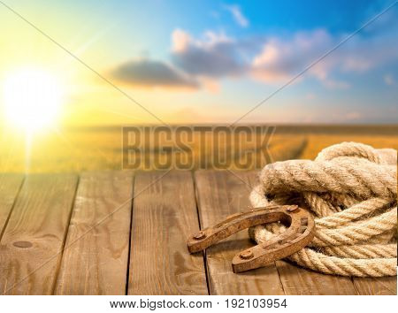 Wooden surface rope horseshoe color background beautiful