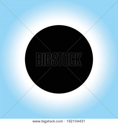 Solar eclipse icon - symbolic vector illustration of a black circle on a white to blue gradient radial background - occurs when the moon passes between sun and earth and blocks the sun.