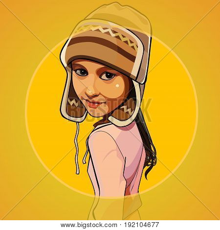 Cartoon girl in a warm knitted hat