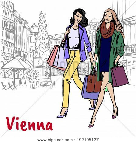 Women girlfriends with shopping bags in Vienna, Austria. Hand-drawn illustration. Fashion sketch