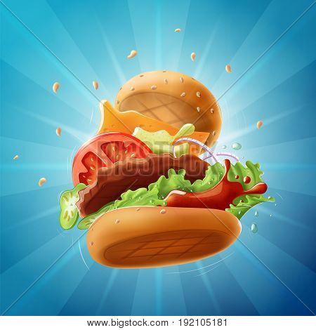 Epic Burger light blue background - vector illustration. Layered, resizable and fully editable.