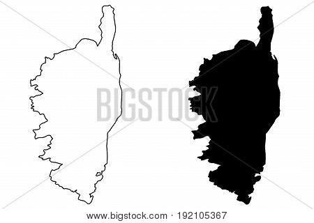 Corsica map vector illustration , scribble sketch Corsica