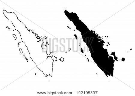 Sumatra map vector illustration , scribble sketch Sumatra