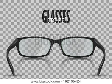 Vector illustration about eyesight. Black stylish realistic glasses close-up isolated. For poster adv web template.