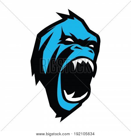 Angry Ape Abstract Vector Sign, Emblem or Logo Template. Monkey Face Symbol. Gorilla Head Silhouette. Good as a Sport Team Mascot. Isolated.