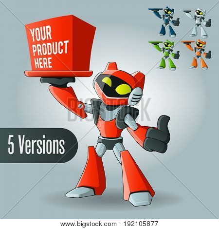 Friendly Modern Robot with a Box - 5 color variations EPS10