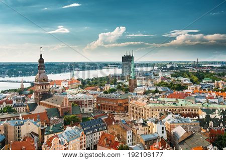 Riga, Latvia - July 1, 2016: Riga In Sunny Summer Day. Famous Landmarks - Riga Dome Cathedral And St. James's Cathedral, or the Cathedral Basilica of St. James