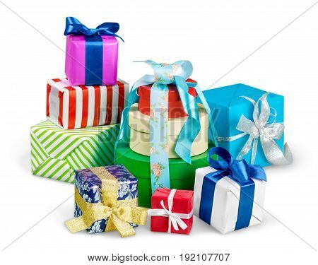 Gift boxes ribbons bows color white background