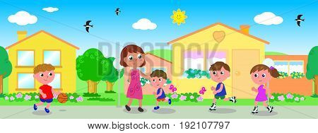 Woman and children in urban landscape with seamless line of houses vector illustration
