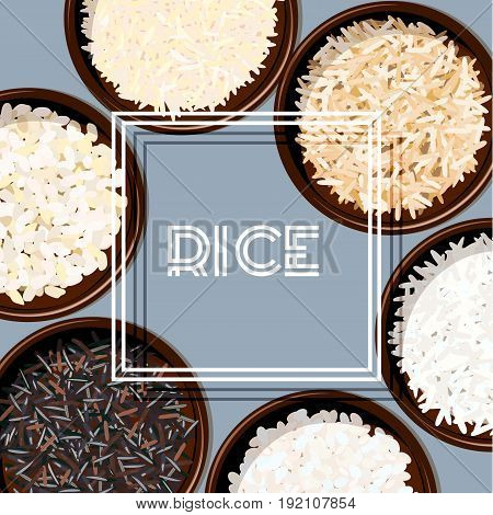 Different types of rice in bowls. Basmati, wild, jasmine, long brown, arborio, sushi. chopsticks. Kitchen bamboo mats. Vector illustration. square white frame For culinary fastfood restaurant
