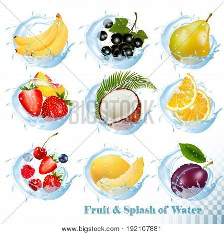 Big collection of fruit in a water splash icons. Banana coconut peach orange plums strawberry honeydew raspberry blackberry blueberry cherry. Vector Set