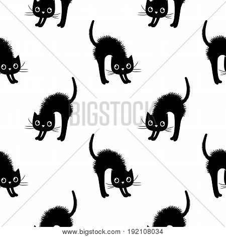 Cute and modern seamless vector pattern with black cats on white background for textile and clothing