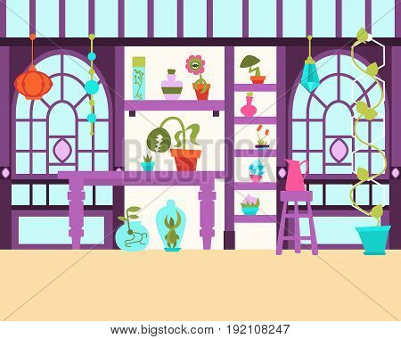 Interior of a magical greenhouse with plants. Vector illustration