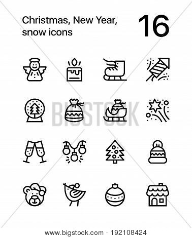 Merry Christmas and Happy New Year icons for web and mobile design pack 2