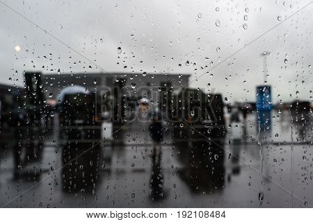The water droplets on the glass. Background.