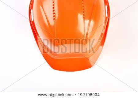 Cropped picture with protective helmet. Engineer professional protection, white background.