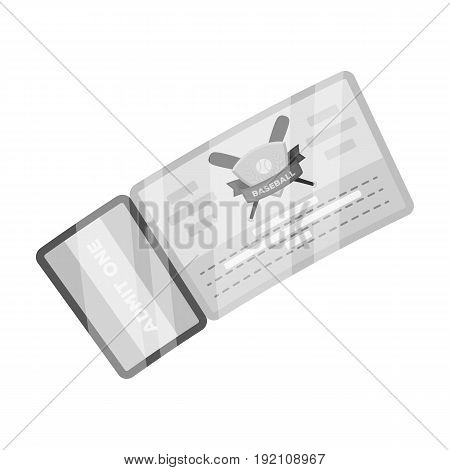 Baseball Ticket. Baseball single icon in monochrome style vector symbol stock illustration .