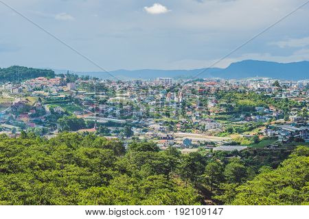 View Of The City Of Dalat, Vietnam. Journey Through Asia Concept