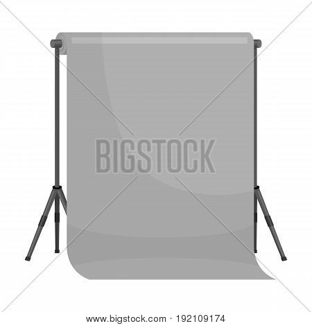 Background stand. Making a movie single icon in monochrome style vector symbol stock illustration .
