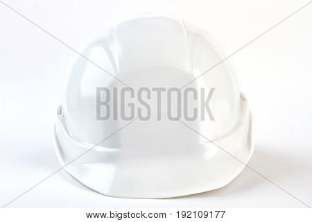 Industrial safety helmet front view. Professional hard hat for foreman on white background.