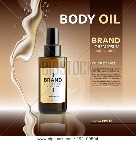 Body oil cosmetic ads template. Hydrating body lotions. Mockup 3D Realistic illustration. Liquid drops