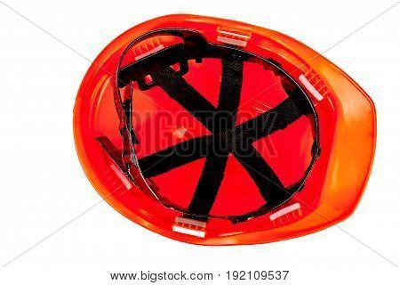 Internal part of safety helmet. Orange protective helmet on white background.