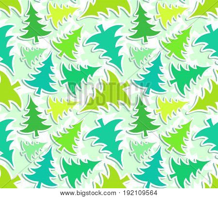 The Seamless background with a green pines.
