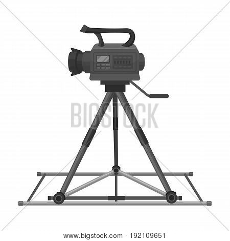 Camera moving on rails.Making movie single icon in monochrome style vector symbol stock illustration .