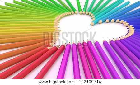Rainbow colored pencils on a white table forming a heart shape 3D illustration
