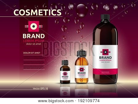 Body care cosmetic set serum and cream ads template. Hydrating facial or body lotions. Mockup 3D Realistic illustration. Sparkling shiny background