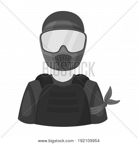 A player in paintball.Paintball single icon in monochrome style vector symbol stock illustration .