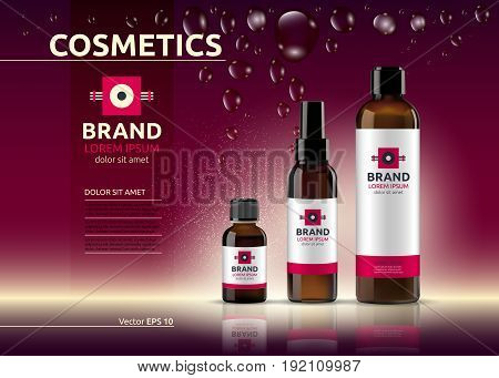 Body care cosmetic set serum and cream ads template. Hydrating facial or body lotions. Mockup 3D Realistic illustration. Sparkling deep red