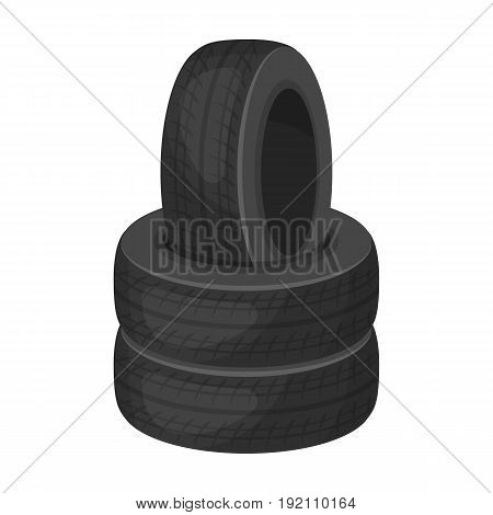 Barricade of tires.Paintball single icon in monochrome style vector symbol stock illustration .