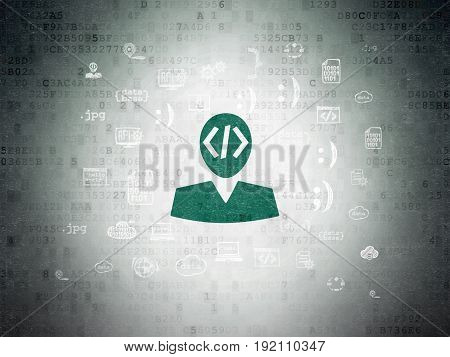 Programming concept: Painted green Programmer icon on Digital Data Paper background with  Hand Drawn Programming Icons