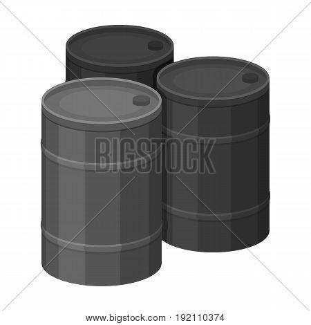 Barricade of empty barrels.Paintball single icon in monochrome style vector symbol stock illustration .