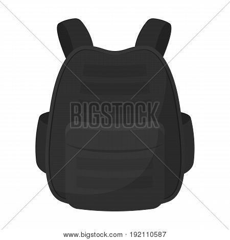Protective waistcoat.Paintball single icon in monochrome style vector symbol stock illustration .