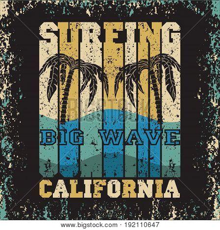 water sport Surfing California big wave T-shirt inscription typography graphic design emblem